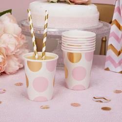 Pak met 8 kartonnen bekertjes gold pattern roze