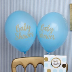 Baby ballon gold pattern blue Baby Shower