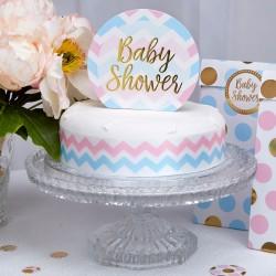 Baby Shower Taarttopping met gouden letters op een blauwe met roze achtergrond