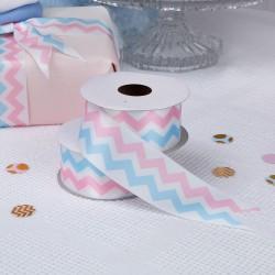 Prachtige kwaliteits rol lint gold pattern roze en blauw