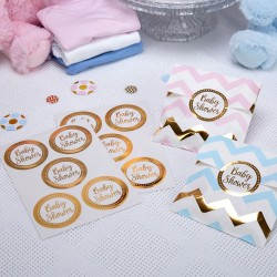 Pak met 25 gold pattern Babyshower stickers