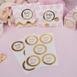 Pak met 25 gold pattern Baby Girl stickers