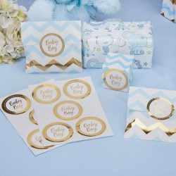 Pak met 25 gold pattern Baby Boy stickers