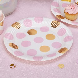 Pak met 8 kartonnen bordjes gold pattern roze