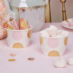 Pak met 8 party cups gold pattern roze