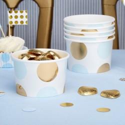 Pak met 8 party cups gold pattern blauw