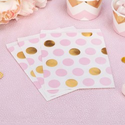 Pak met 25 party bags gold pattern roze