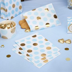 Pak met 25 party bags gold pattern blauw