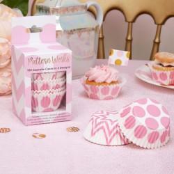 Pak met 100 cupcake bakjes gold pattern roze