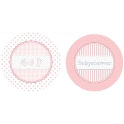 Pak met 8 bordjes Babyshower Pink