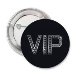 Button VIP Shiny silver met eigen tekst
