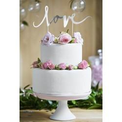 Aantrekkelijk geprijsde taart topping Love zilver