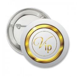Button VIP Gold on White met eigen tekst