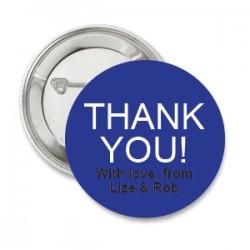 Button Thank You donker blauw met deze of eigen tekst