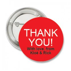 Button Thank You rood met deze of eigen tekst