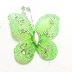 Letterlijk en figuurlijk schitterende organza vlinder met metaaldraad langs de randen appel groen
