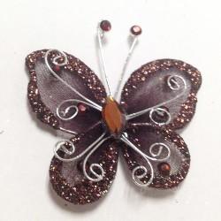 Letterlijk en figuurlijk schitterende organza vlinder met metaaldraad langs de randen bruin