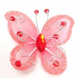 Letterlijk en figuurlijk schitterende organza vlinder met metaaldraad langs de randen koraal rood