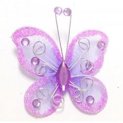 Letterlijk en figuurlijk schitterende organza vlinder met metaaldraad langs de randen lavendel