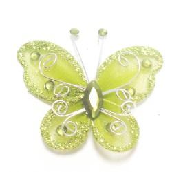 Letterlijk en figuurlijk schitterende organza vlinder met metaaldraad langs de randen olijf groen