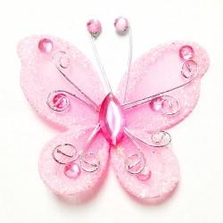 Letterlijk en figuurlijk schitterende organza vlinder met metaaldraad langs de randen roze