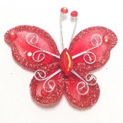 Letterlijk en figuurlijk schitterende organza vlinder met metaaldraad langs de randen rood