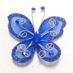 Letterlijk en figuurlijk schitterende organza vlinder met metaaldraad langs de randen royal blue