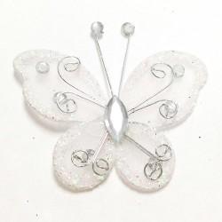 Letterlijk en figuurlijk schitterende organza vlinder met metaaldraad langs de randen wit