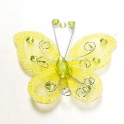Letterlijk en figuurlijk schitterende organza vlinder met metaaldraad langs de randen geel