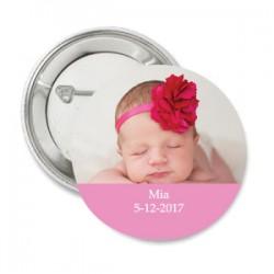 Button Lolliepop Baby licht roze met eigen tekst