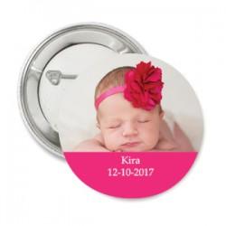 Button Lolliepop Baby donker roze met eigen tekst en foto