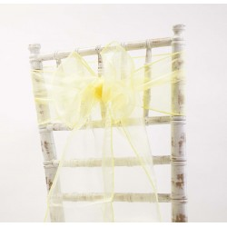 Organza stoelstrik per stuk of per pak met 6 stuks zacht geel