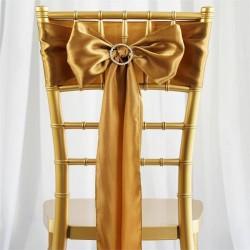 Satijnen stoelstrik per stuk of per 6 stuks goud