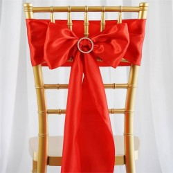 Satijnen stoelstrik per stuk of per 6 stuks rood