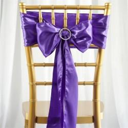 Satijnen stoelstrik per stuk of per pak met 10 stuks paars