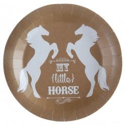 Pak met 10 bordjes bruin met wit paard