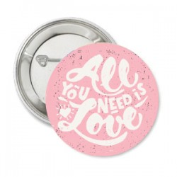 Button All You Need is Love roze met wit