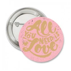 Button All You Need is Love roze met goud