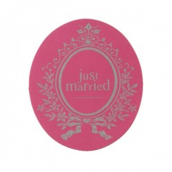 Pak met 50 Just Married stickers roze