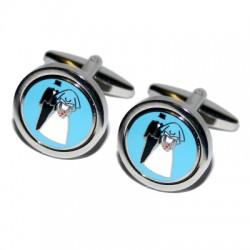 Set ronde manchetknopen zilver met blauw met een afbeelding van een bruidspaar