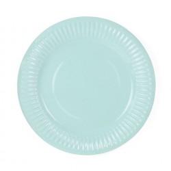 Pak met 6 Tropical Party bordjes in een zachte turquoise/mint kleur