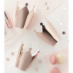 Set met 5 kroontjes Team Bride Rose Gold effen