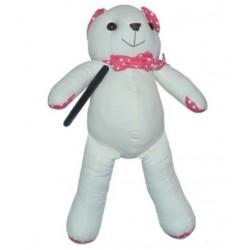 Beschrijfbare beer met roze voetjes en handjes, inclusief pen