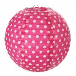 Pak met twee gestippelde lampionnen met een doorsnede van 20 cm roze