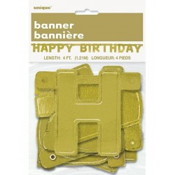 Happy Birthday letterbanner goud