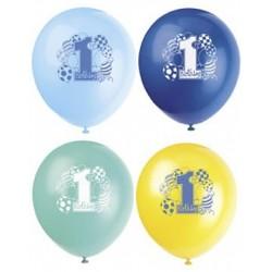 Zakje met 8 ballonnen eerste verjaardag blauw met geel