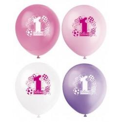 Zakje met 8 ballonnen eerste verjaardag roze met lila
