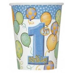 Bekertjes eerste verjaardag balloons blauw
