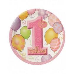 Kartonnen bordjes eerste verjaardag balloons roze