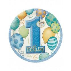 Kartonnen bordjes eerste verjaardag balloons blauw